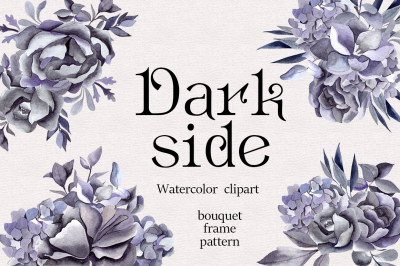 Dark flower. Watercolor set
