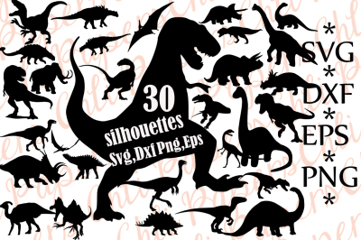 Dinosaurs Silhouettes Svg.DINOSAURS CLIPART,Dinosaur vector