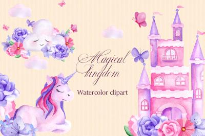 Magical kingdom. Watercolor clipart