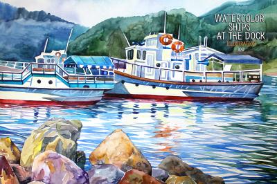 Watercolor ships at the dock