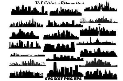 US Cities silhouette SVG DXF EPS PNG