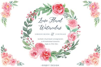 Loose Watercolor Roses & Peonies