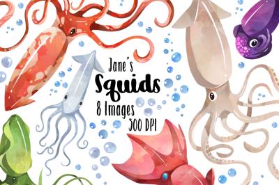 Watercolor Squids Clipart