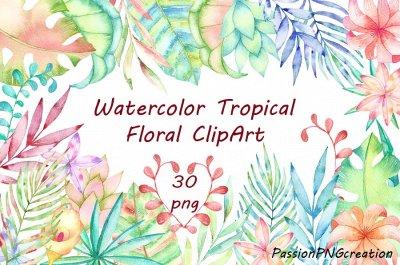 Watercolor Tropical Floral Clipart