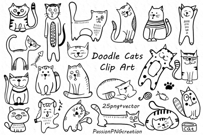 Doodle cats clipart