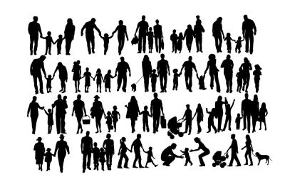 Family silhouettes SVG DXF PNG