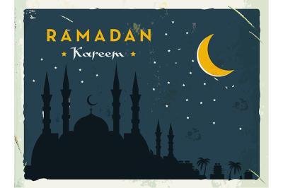 Ramadan Kareem retro banner. Grunge vintage style.