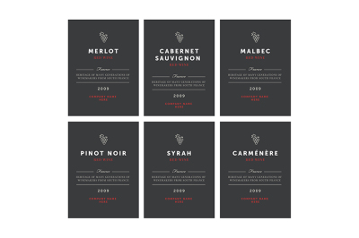 Red wine labels. Vector premium template set.