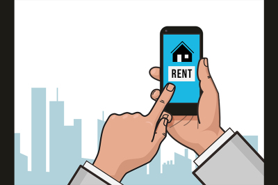 Home icon on smartphone screen.Rent apartments, homes app.