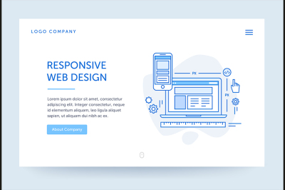Responsive design illustration. Web banner. Blue flat line style.