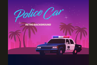 80s retro neon gradient background. Vintage police car.