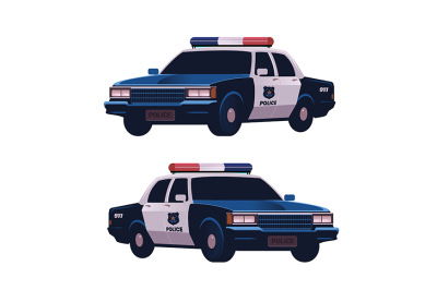 Retro police cars set. Isometric view.