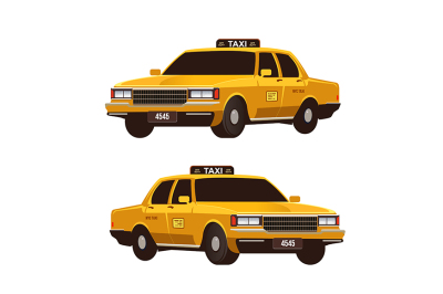 Retro yellow taxi cabs set. Isometric view.