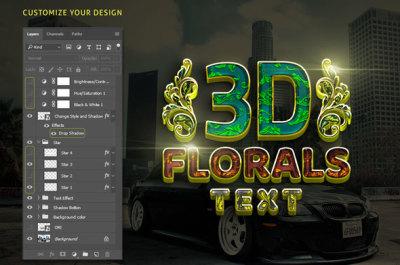 3D Florals Gold Text Effect