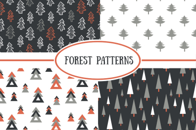 Seamless Christmas forest collection