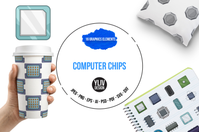 Computer chips illustrations and graphics
