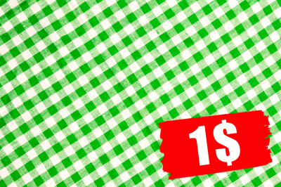 Green checkered tablecloth background