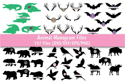 Animal Monogram SVG Bundle, 29 Packs with 197 Files for each format.