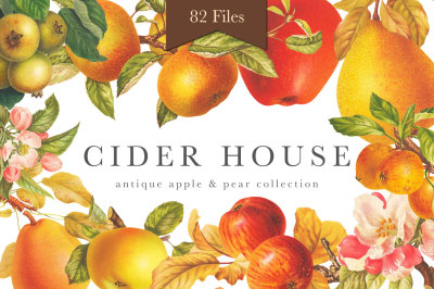 Cider House Antique Apple and Pear Graphics