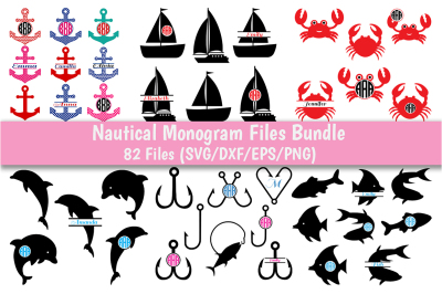 Nautical Monog SVG Bundle, 13 Pack In SVG, DXF, PNG, EPS format