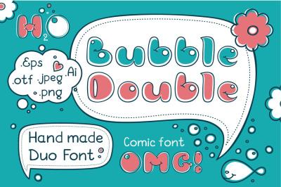 Bubble Double Duo font. Comic Alphabet. Handwritten graffiti cartoon