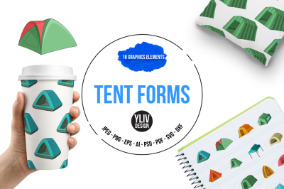 Tent forms illustrations and graphics