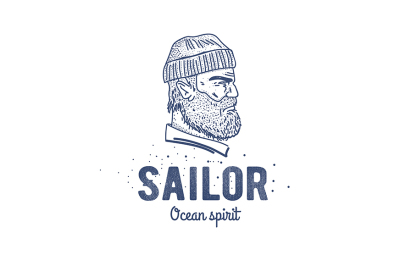 Old sailor logo or label. Seaman with a beard.