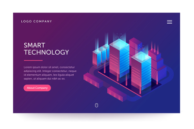 Smart technology and software development company illustration.