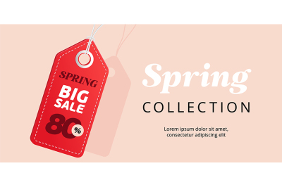 Spring big sale banner with red tag. Vector template.