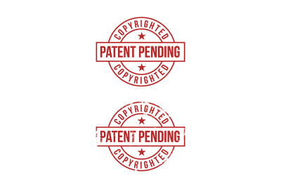 Patent pending sign on white background. Red stamp.
