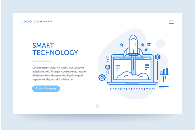 Startup company illustration. Web banner. Blue flat line style.