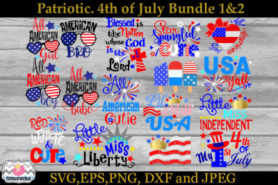 SVG, Dxf, Eps & Png Cutting Files Patriotic Bundle 1 & 2