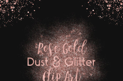 Rose Gold Dust & Glitter Clip Art