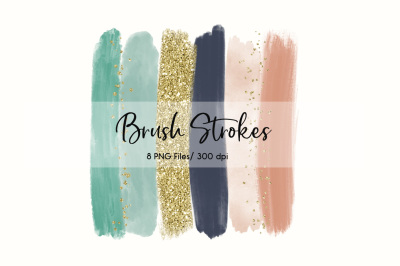 Brush Strokes Clip Art (Mint & Navy)
