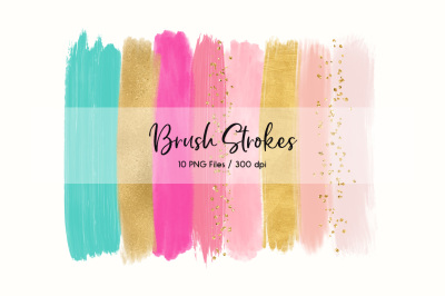Brush Strokes Clip Art (Rainbow)