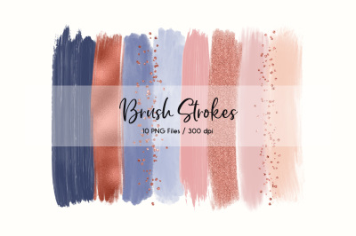 Brush Strokes ClipArt (Navy & Blush)