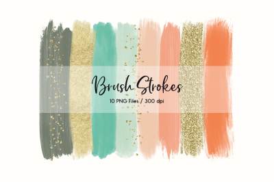 Brush Strokes ClipArt (Gold & Peach)