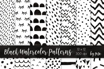 Black watercolor digital papers