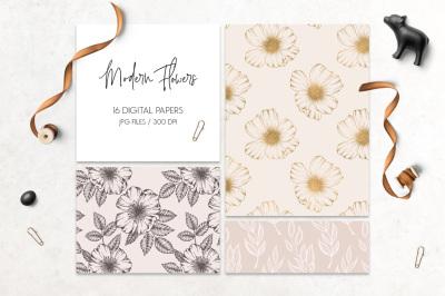 Modern flowers digital paper pack