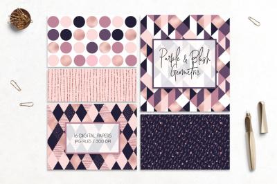 Purple & blush geometric patterns