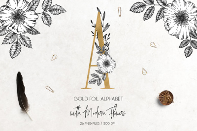 Gold foil alphabet with modern flowers