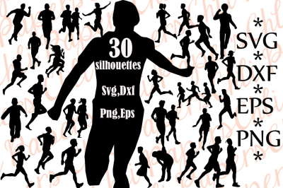 Runner Silhouette Svg,RUNNER CLIPART, Runner cut files,People