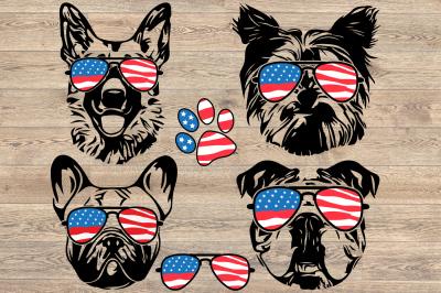 Dogs USA Flag German shepherd Yorkshire Terrier Bulldog pug 856S