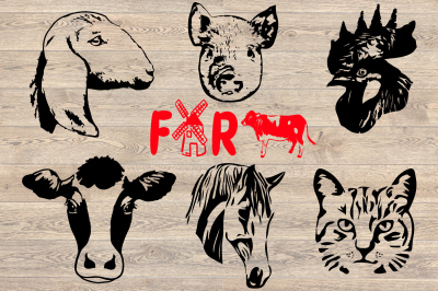 Farm Animals Silhouette SVG cow horse cat goat pig rooster 857S
