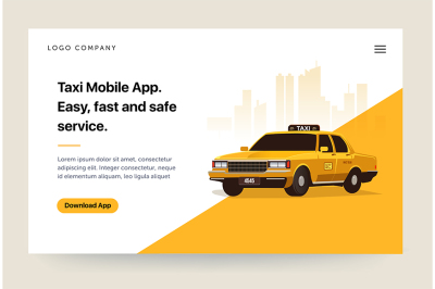 Taxi services mobile app website template.