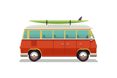 Retro travel red van icon. Vector illustration in flat design