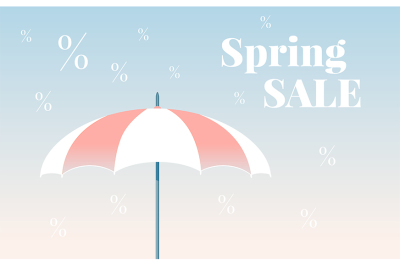 Spring sale colorful vector banner. Vector umbrella.