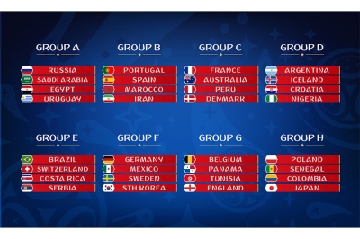 Football championship groups. Set of national flags. Draw result.