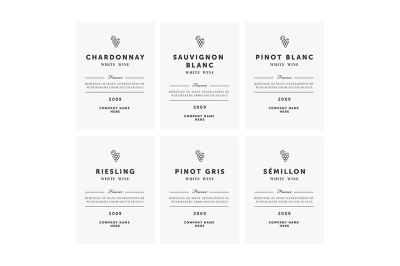 White wine labels. Vector premium template set.