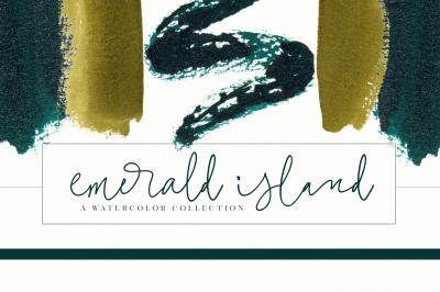 Emerald Island - Emerald and Gold Watercolor Clip Art Illustrations